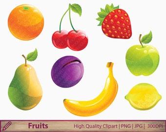Fruit clipart, orange cherry apple pear banana strawberry plum lemon clip art, scrapbooking, digital instant download, png jpg 300dpi