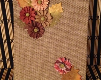 Burlap style journal with flowers