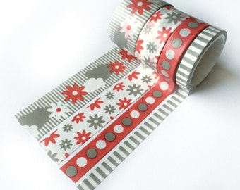 Washi tape set of 4 in gray and red, stationary, masking tape, paper tape, scrapbooking