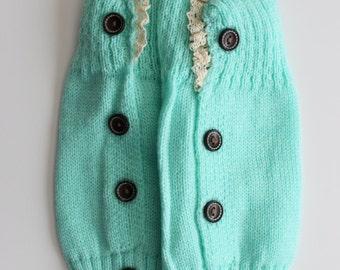 Lake Blue Baby/Child Knitted Leg Warmer Boot Cuffs