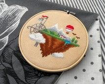 Geek Nerd Cross Stitch Pattern PDF - Modern Fantasy Art Embroidery – Steampunk Floating Island World – DIY Gift – Counted Cross Stitch Chart