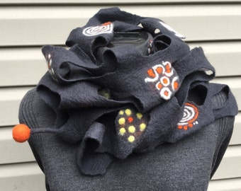 Merino Wool Scarf, Fashion Accessories, One-Of -A-Kind, Wearable art, Felt