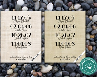 Linen Family Dates Print - Up to 4 Dates