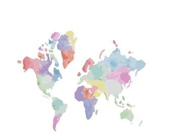 Watercolour World Map Print