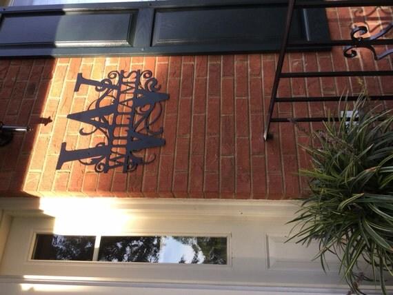weatherproof monogram house sign monogrammed by bluefishmill. Black Bedroom Furniture Sets. Home Design Ideas