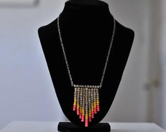 Tribal Chevron Beaded Pendant Necklace