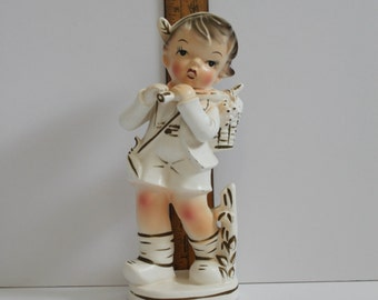 Large Vintage  Brinn's White and Gold Boy Statue- Figurine