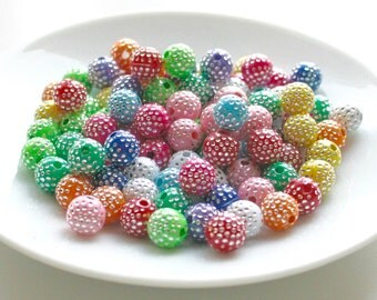 50 Mixed Colour Acrylic Round Shaped Silver Foil beads 8mm