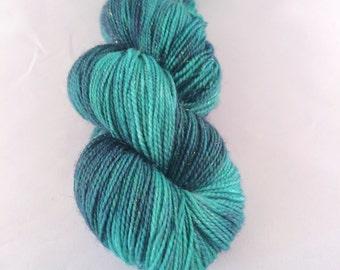 Emerald - Glitter Gel Pen fingering weight sock yarn