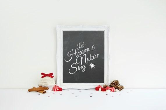 Christmas Word Art, Let Heaven and Nature Sing, Chalkboard Christmas Print, Printable Holiday Lyrics, Chalkboard Word Art, Teacher Gift