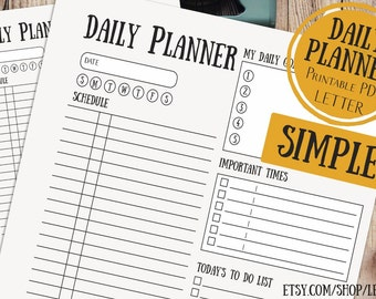 """Daily to do Planner Printable, Desk Planner, LETTER daily planner 8.5""""x11"""" Printable Daily Schedule Day Organizer Simple"""