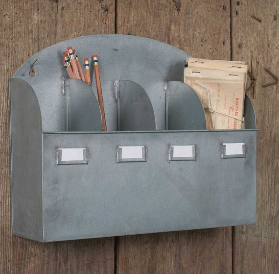 Farmhouse Rustic Galvanized Wall Pocket Organizer