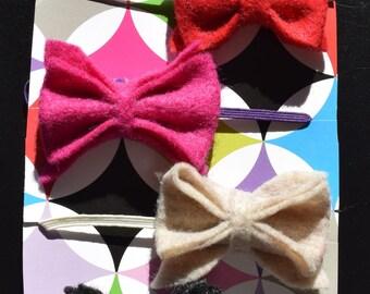 Four Felt Baby Bow Headbands
