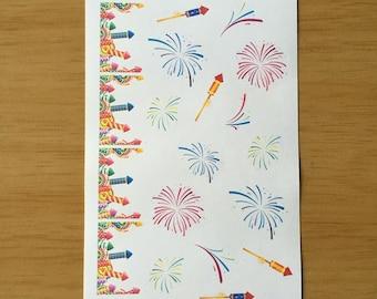 Firework stickers for Erin Condren, Plum Paper, Filofax, Kikki K (DPD240)