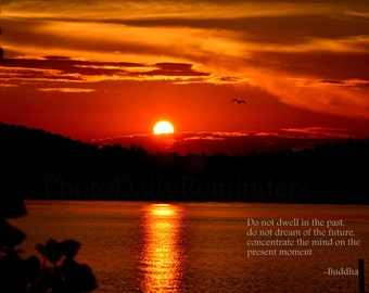 Sunset over lake, Buddha quote