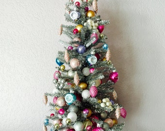 Artificial Slim Tabletop Christmas Tree, 50's Retro-style Tabletop Christmas Tree