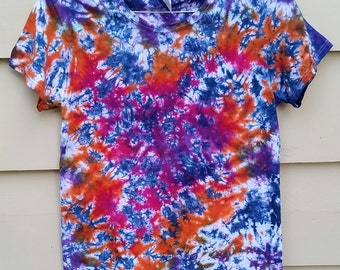 Navy Crinkle - Tie Dye  -  Navy, Orange, Pink - Women's L