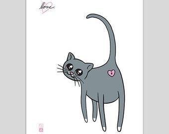 Love Cat – Gray Cat Poster Print