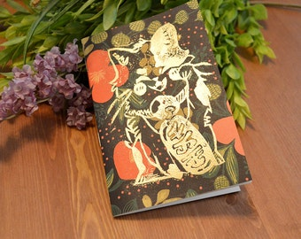 Golden Floral Maneki Neko Journal