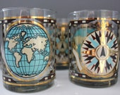 Georges Briard World Map Gold Foil Compass Low Ball Cocktail Glasses Set of 7