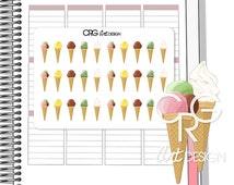 Ice Cream Cone Stickers   Planner Erin Condren Plum Planner Filofax Sticker