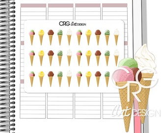 Ice Cream Cone Stickers | Planner Erin Condren Plum Planner Filofax Sticker