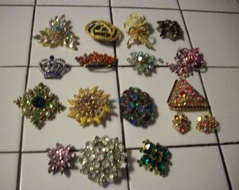 15 Vintage Brooch/1 pr earrings