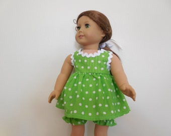 Dress, bloomers, lime green with white polka dots 69