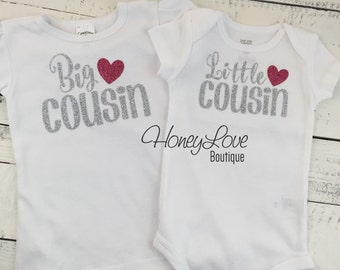 Cousin shirts Matching Little Middle Big Biggest Bigger glitter bodysuits, custom personalization shirt baby girl newborn infant toddler