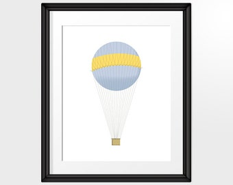 Blue and Yellow Hot Air Balloon with fine lines illustration, Printable Art, INSTANT DOWNLOAD