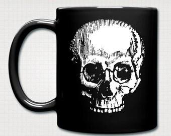 Vintage Skull Skeleton Goth Print Black Ceramic Mug.
