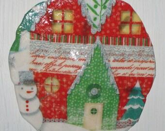 Christmas Village Sand Dollar Ornament