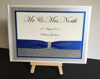 Personalised Wedding Guestbook with glitter and diamante buckle