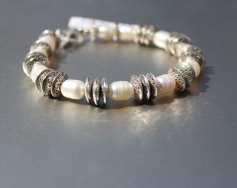 White Pearl Disc Bracelet
