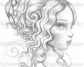 Victorian Lady Girl. INSTANT DOWNLOAD Digital Digi Stamps.