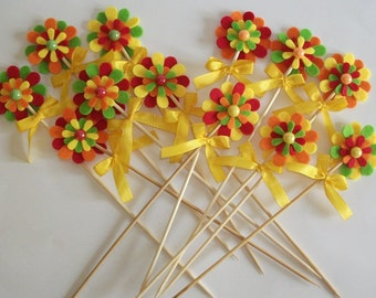 """Set felt flowers and bows on the skewer-party supplies-Party Decorations Toppers-series """"PartyDeco"""" lot for parties (12pcs)"""