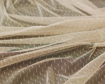Very Soft peach dotted Tulle -40 inches long X 63 inches wide
