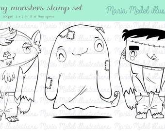 DESCARGA instantánea - sellos de arte digital de línea Halloween Juego: hombre lobo, fantasma y Frankie