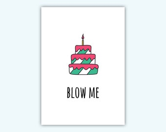 Funny birthday card, adult greeting card, food lovers adult funny card, funny adult anniversary card, dirty adult card, blow me card