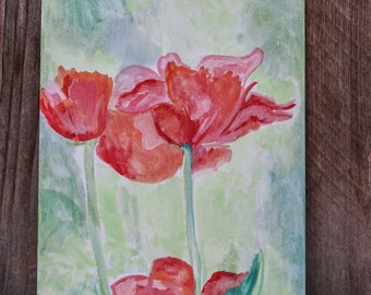 PINK TULIPS - Watercolor Painting - 7x9 Canvas Panel