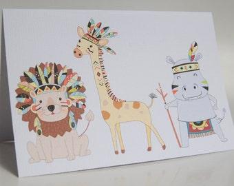 BIRTHDAY CARD -- Tribal Jungle Trio -- Greeting Card