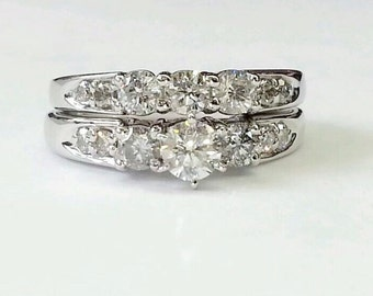 SALE!!!14k solid gold diamond engagement ring and  matching wedding band