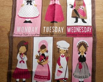 Vintage Monday's Child Irish Linen of Ultser Tea Towel