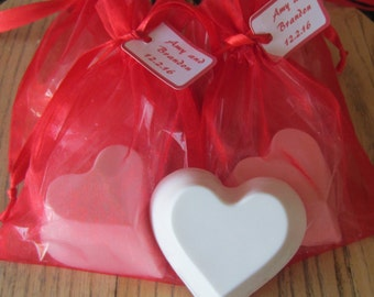 Heart Shaped Scented Goat's Milk Soap: Wedding and Party Favors - SET of 10 with Red Organza Bag and Customized Tag