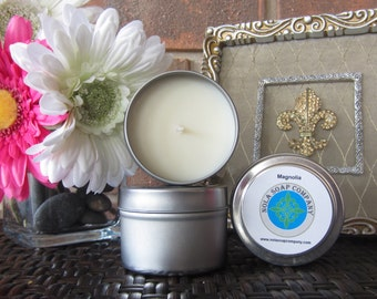 Magnolia Scented Soy Travel Candle 4 oz Metal Tin