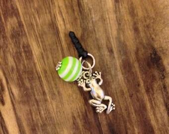 Frog Cell phone plug charm