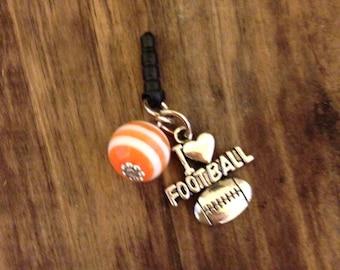 Football Cell phone plug charm