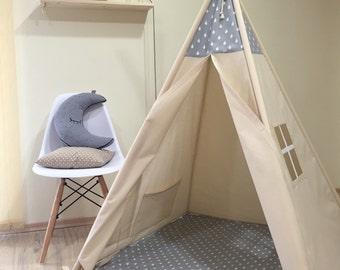 Gray raindrops kids teepee play tent, Natural Canvas Plain Kids Teepee, Kids Play Tent, Childrens Play House, Tipi,Kids Room Decor ,tipi