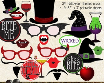 Photo Booth Props, HALLOWEEN, printable sheets, instant download, party planning, diy, vampire, devil, witch