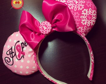 Breast Cancer Awareness Mickey Ear Headband with Embroidered Hope and Pink Ribbon